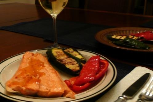 Steelhead trout with grilled vegetables